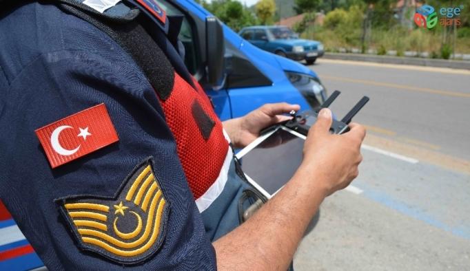 """Ortaca'da Jandarma'dan bayram trafiğine """"havadan"""" denetim"""