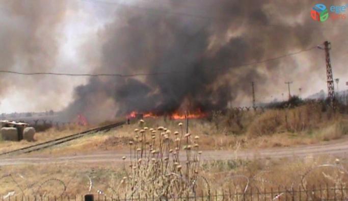 Sınır hattında çıkan yangın söndürüldü