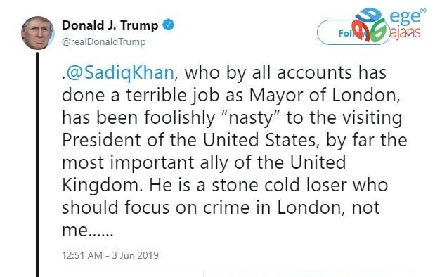 Trump, Sadık Khan'ı uçağı daha yere inmeden eleştirdi