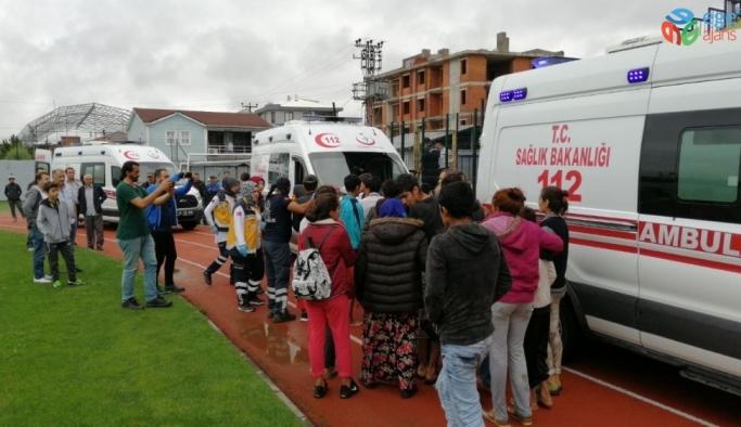 Akçakoca'da selde mahsur kalan 21 fındık işçisi helikopter ile kurtarıldı
