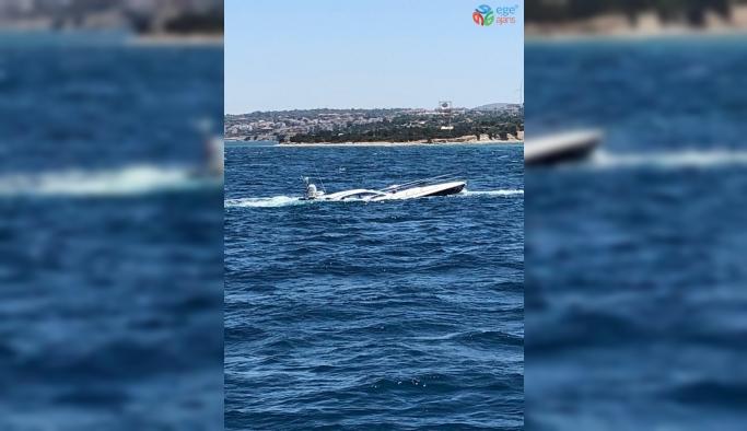 Çeşme'de kaza yapan lüks tekneye hayati operasyon: 5 kişi kurtarıldı