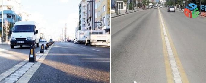 İskele Caddesi'ndeki kaldırılan dubalar trafiği tehlikeye oluşturuyor