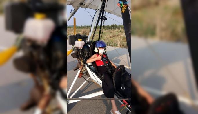 Lösemi hastası Nisa ile yürüme engelli Kerem, özgürce uçmanın keyfini yaşadılar