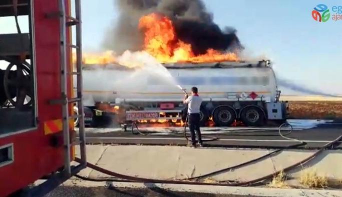 Nusaybin'de yakıt yüklü tankerde yangın