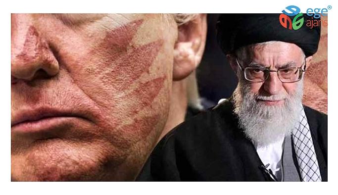 İran dini lideri Hamaney, Trump'ın yüzüne atılmış 'kanlı tokat' fotoğrafını paylaştı