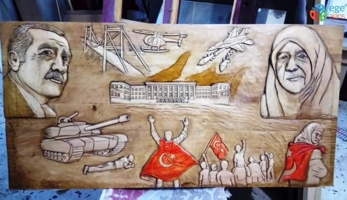 Ahşap sanatçısı Tektaş son eserini Cumhurbaşkanı Erdoğan'a yaptı