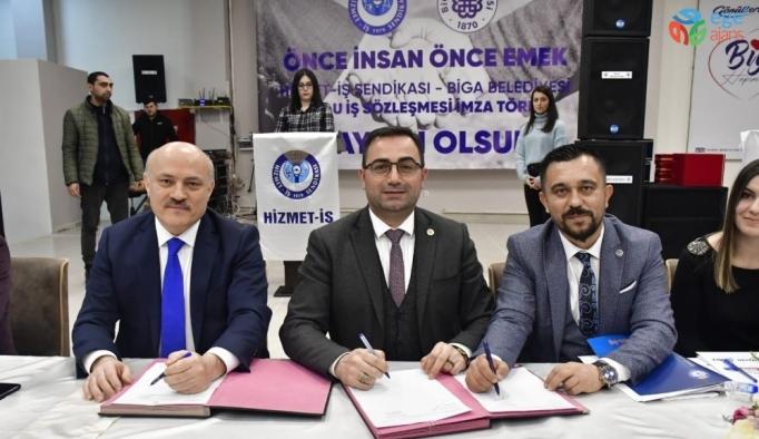 Biga Belediyesinde toplu iş sözleşmesi imzalandı
