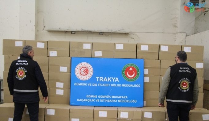 Kapıkule'de 4.5 milyon adet makaron ele geçirildi