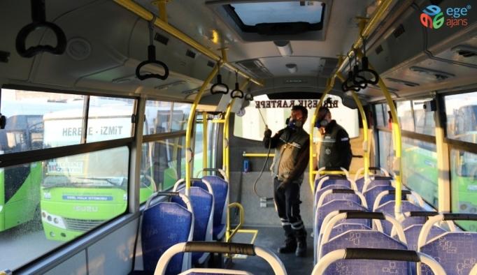 Toplu taşıma araçlarında koronovirüs temizliği yapıldı