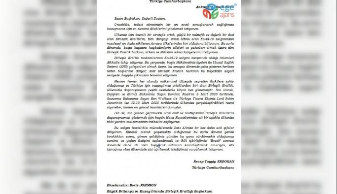 Cumhurbaşkanı Erdoğan'ın Birleşik Krallık Başbakanı Johnson'a mektup gönderdi
