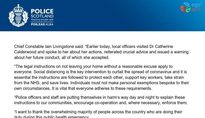 İskoçya Tıp Danışmanı Calderwood, sokağa çıkma yasağını ihlal edince polis tarafından uyarıldı