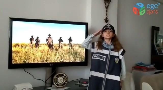 """Minik öğrenciden Polis Haftası'nda """"Evde kal"""" mesajı"""