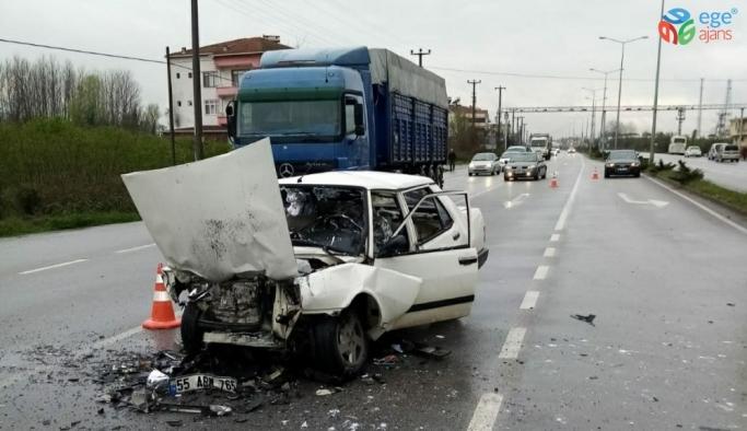 Samsun'da otomobil ile tır çarpıştı: 1 yaralı