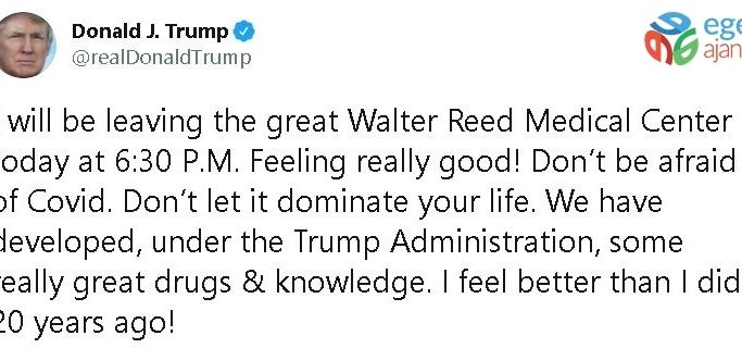 """Trump: """"Bugün harika Walter Reed Tıp Merkezi'nden ayrılıyorum"""""""