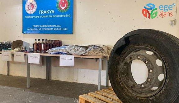 Tır'ın lastiğine gizlenmiş kilolarca uyuşturucu bulundu
