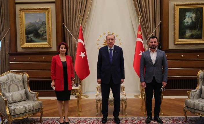 Başkan Saliha Özçınar Kutlu ve eşinden Cumhurbaşkanı Erdoğan'a ziyaret
