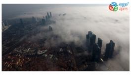 (Özel) Sisler altında kalan İstanbul havadan görüntülendi