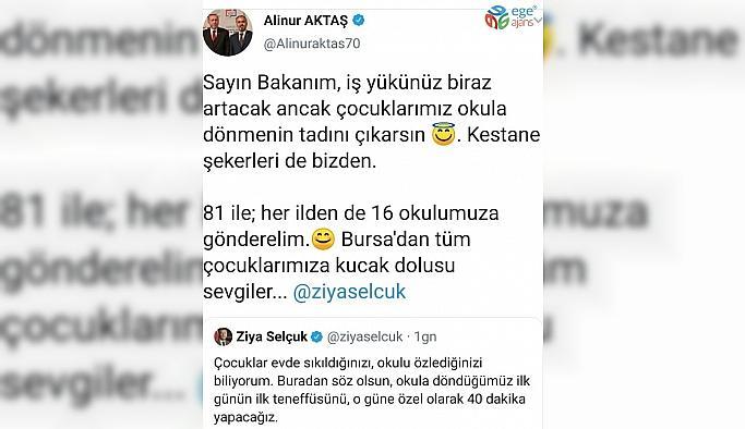 Bursa Büyükşehir Belediye Başkanı Alinur Aktaş'dan 81 ildeki 16 okula kestane şekeri