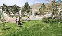 Bayburt'ta park ve refüjlerde çim biçme çalışması