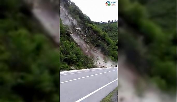 Heyelan riski oluşturan kayalar kontrollü bir şekilde temizlendi