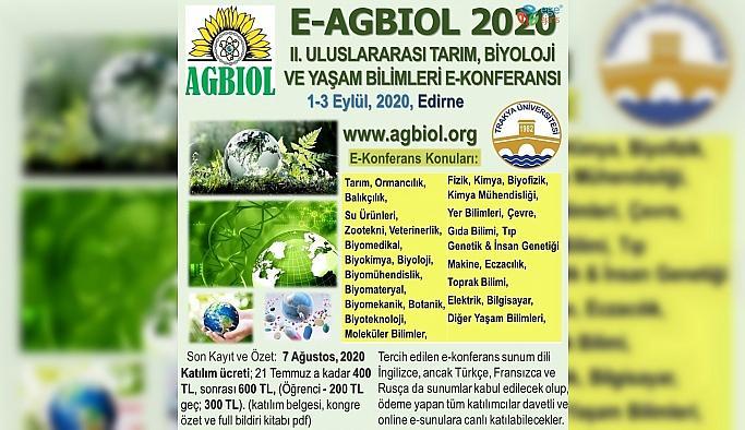2. Uluslararası Tarım, Biyoloji ve Yaşam Bilimleri E-Kongresi düzenlenecek