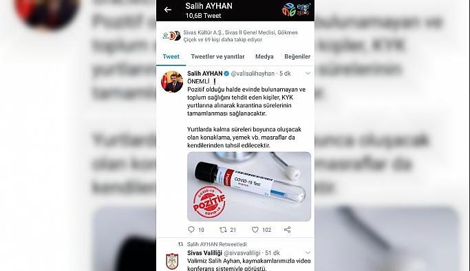 Sivas'ta karantina kurallarını ihlal edenler evine dönemeyecek