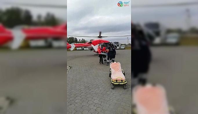 Ambulans helikopter 82 yaşındaki hasta için havalandı
