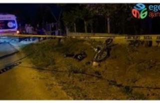 Uşak'ta şarampole devrilen motosikletin sürücüsü...